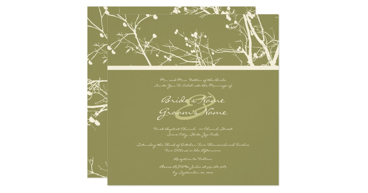 White And Green Wedding Invitations: Green And White Winter Tree Wedding Invitation