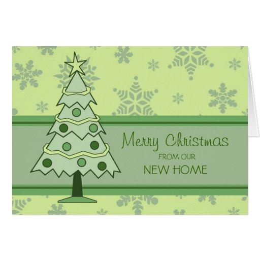 Green Christmas Tree New Address Christmas Card