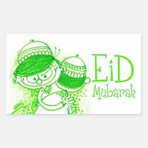 Eid Mubarak Stickers: Green Eid Mubarak Sketch Rectangular Sticker