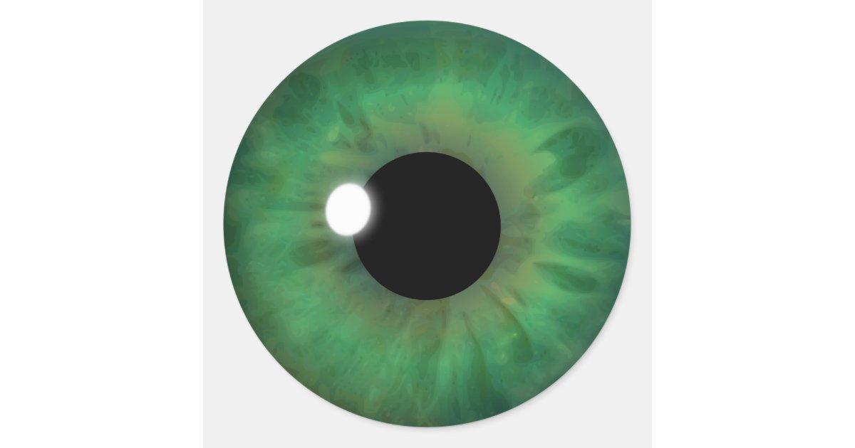 Green Eye Iris Cool Eyeball Custom Round Stickers Zazzle