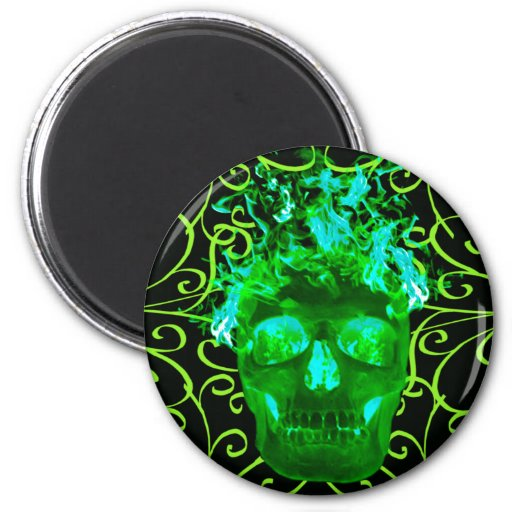 Green Flaming Skull Magnet | Zazzle
