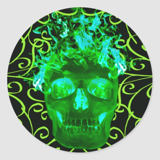 Green Flaming Skull Stickers | Zazzle