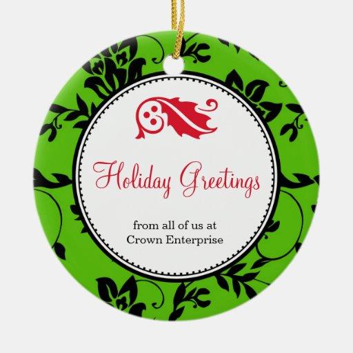 Company Logo Christmas Ornaments: Green Floral Holiday Greeting Custom Business Logo
