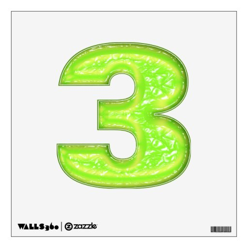 Green Goo - Number 3 Wall Stickers | Zazzle