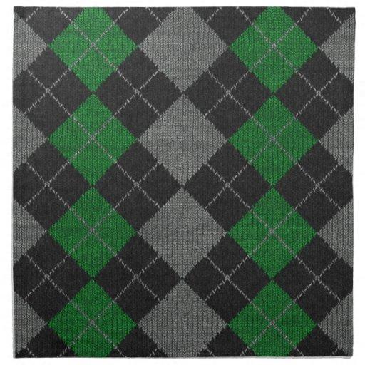 Green & Gray Knit Argyle Pattern Printed Napkins   Zazzle