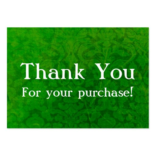 Green Vintage Thank You For Your Purchase Cards Large