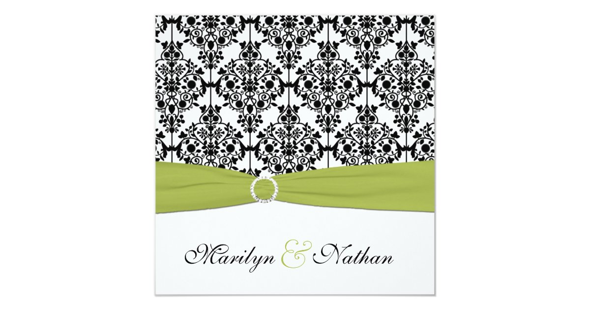 White And Green Wedding Invitations: Green, White And Black Damask Wedding Invitation