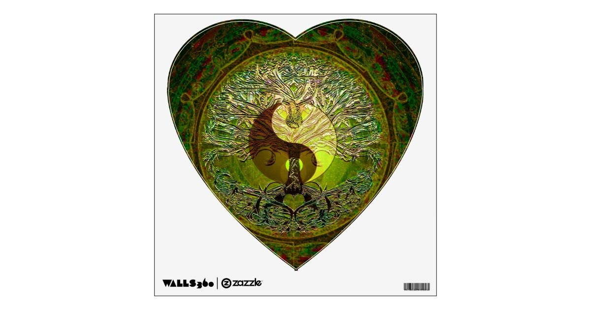 Green Yin Yang With Tree Of Life Wall Decal Zazzle