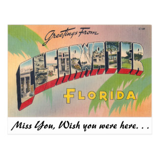 Greetings from clearwater florida postcards for Wish you were here postcard template