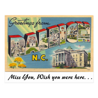 wish you were here postcard template greetings from raleigh north carolina post card