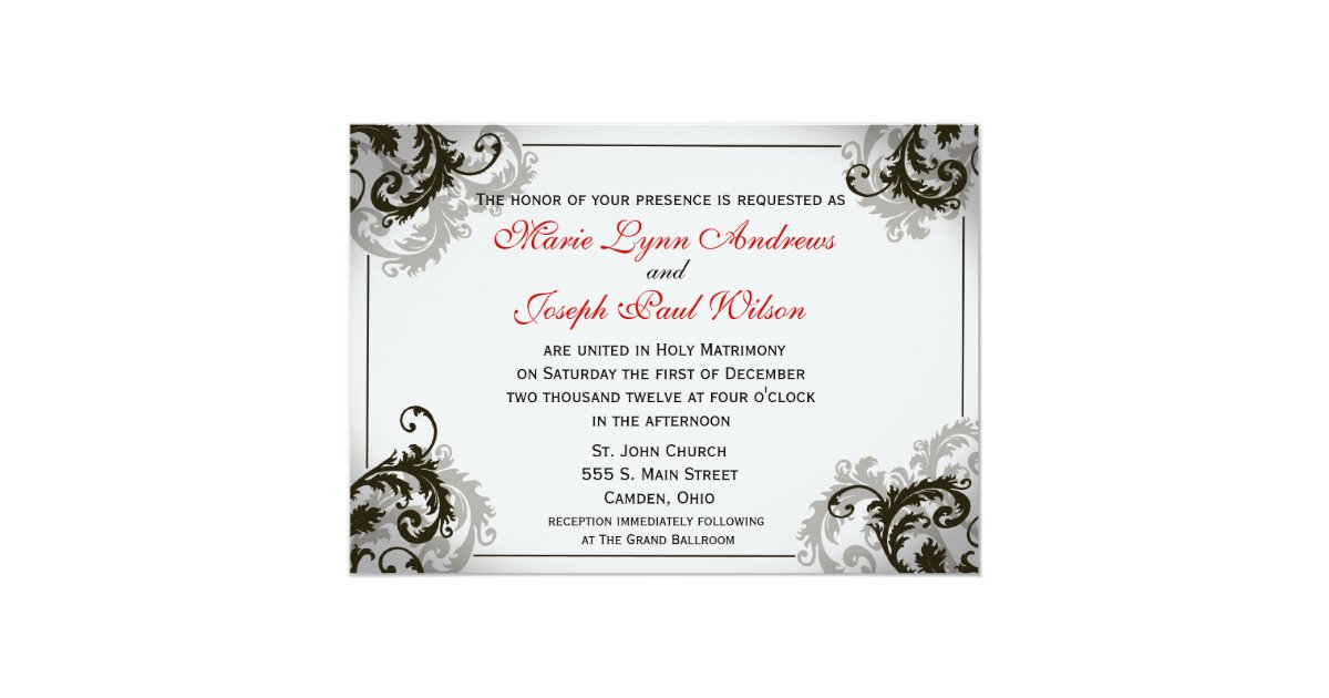 Flourish Wedding Invitations: Grey, Black, And White Flourish Wedding Invitation