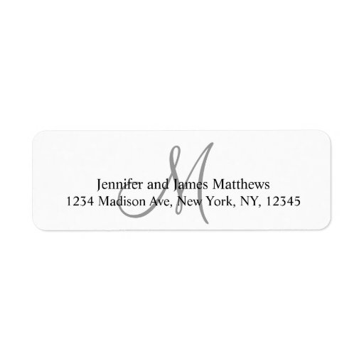 grey monogram return address labels for weddings zazzle. Black Bedroom Furniture Sets. Home Design Ideas
