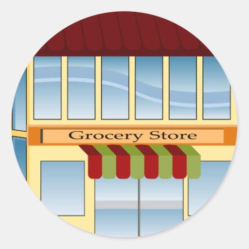 Grocery Store Building Icon Classic Round Sticker | Zazzle