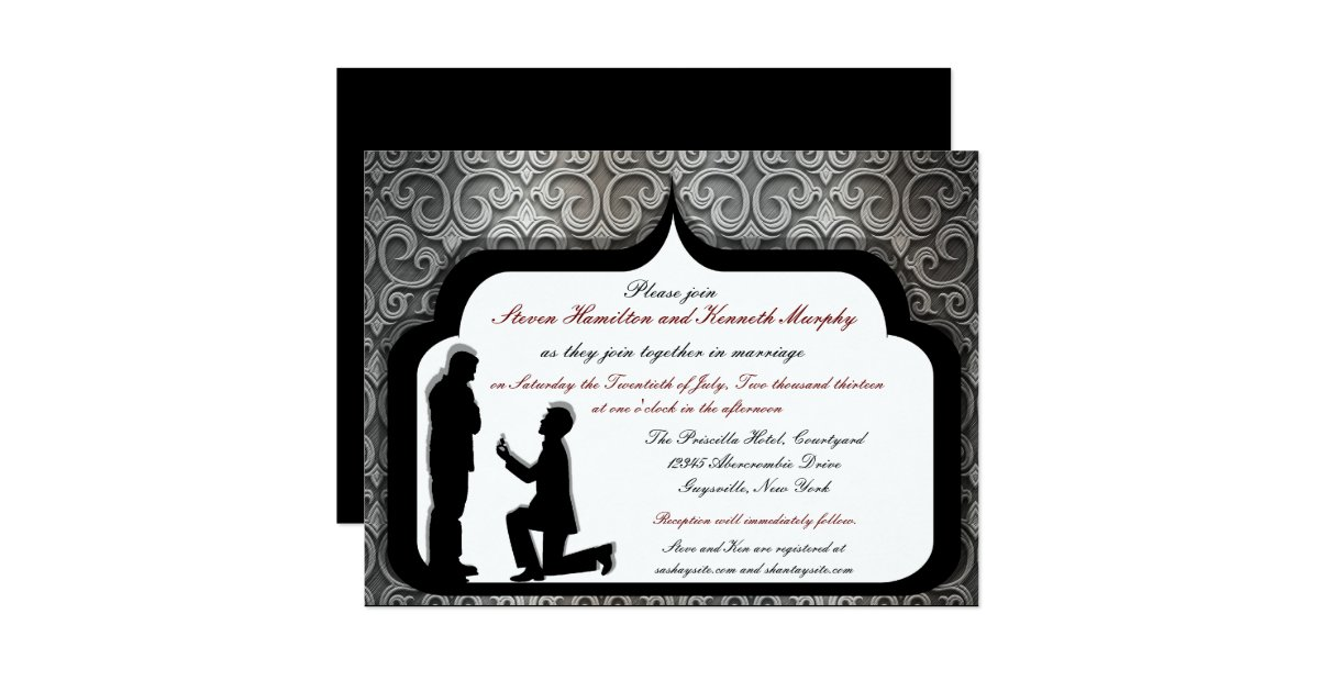 Gay Marriage Wedding Invitations: Grooms Proposal Custom Gay Wedding Invitations