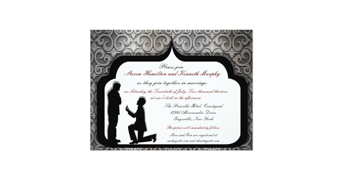 Gay Wedding Invitations: Grooms Proposal Custom Gay Wedding Invitations