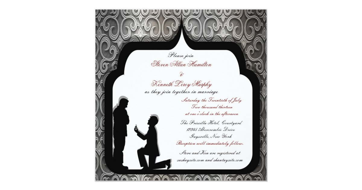 Gay Marriage Wedding Invitations: Grooms Proposal Custom Gay Wedding Invitations II