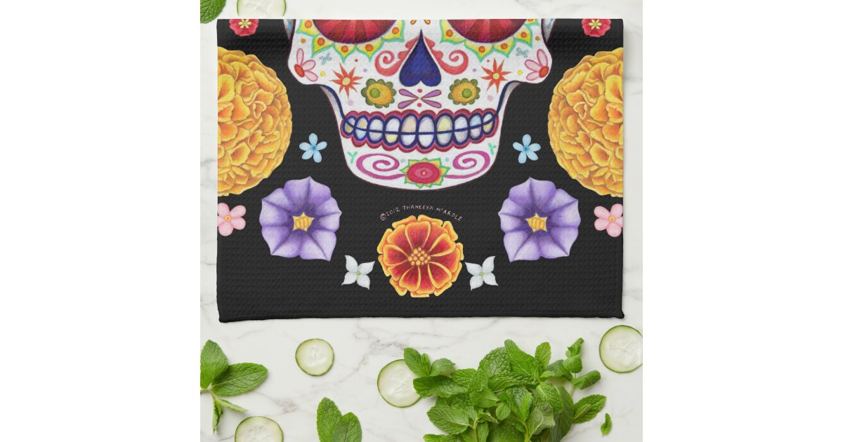 Groovy Day of the Dead Sugar Skull Kitchen Towel | Zazzle