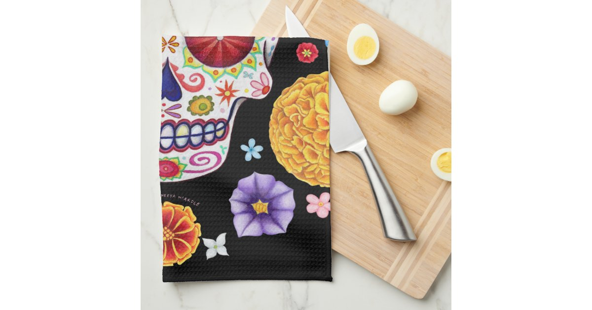 Groovy Day of the Dead Sugar Skull Kitchen Towel   Zazzle