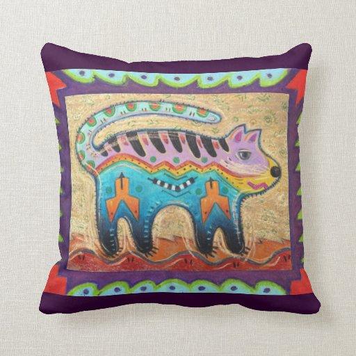 Grumpy Southwestern Folk Art Cat Throw Pillow Zazzle