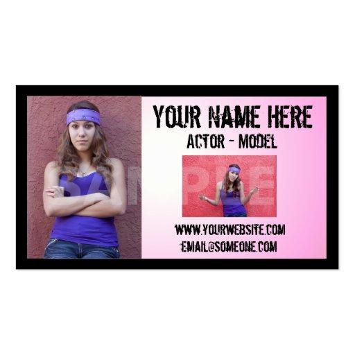 Grunge Actor Headshot Business Card