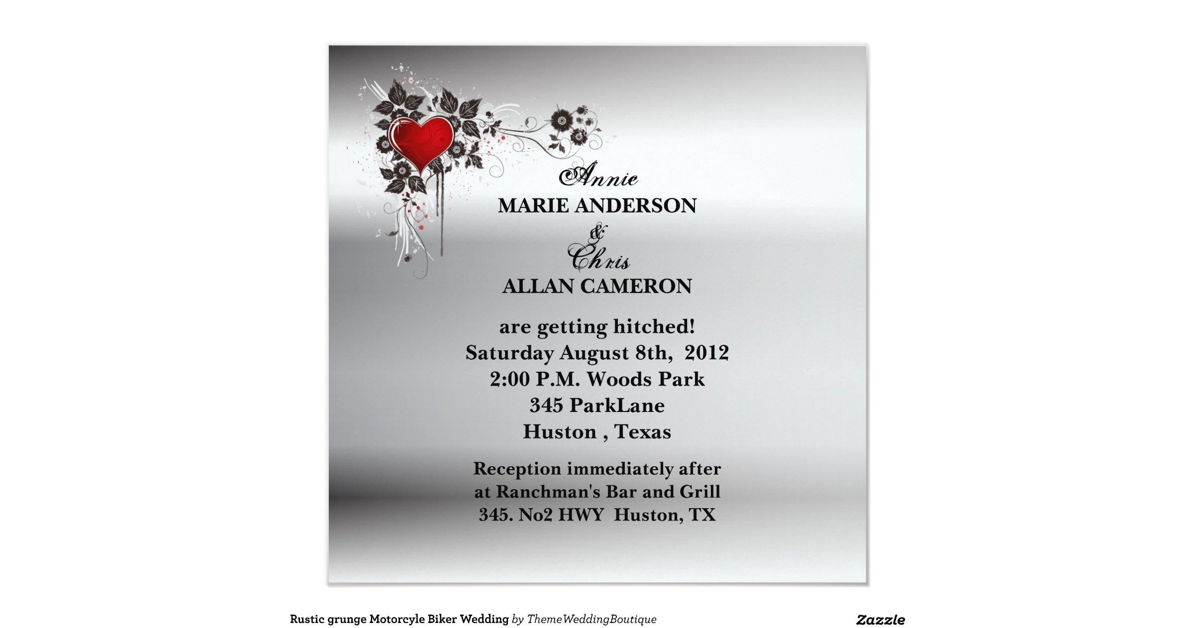 Biker Wedding Invitations: Grunge Heart Motorcycle Biker Wedding Invitation 5.25