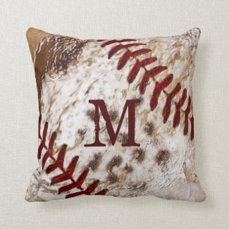 Grunge Monogrammed Dirty Baseball Pillow