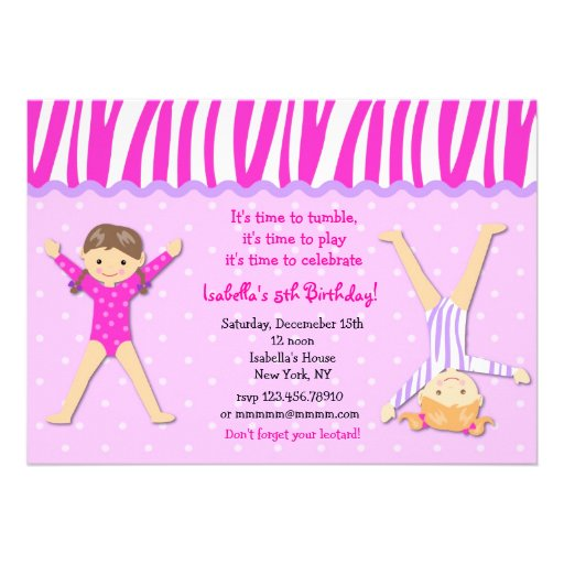 "Gymnast Gymnastic Birthday Party Invitations 5"" X 7"