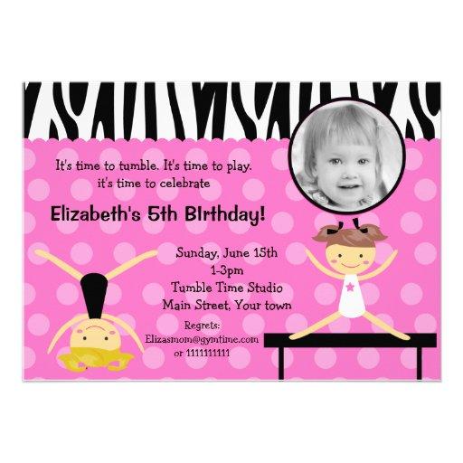 Birthday Invitation Templates Gymnastic Wording