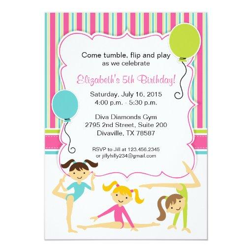 Gymnastic Girls Birthday Party Invitation
