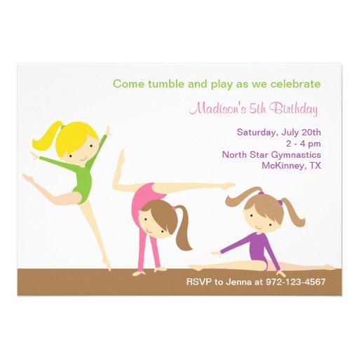 """Gymnastics Girls Birthday Party Invitation 5"""" X 7"""