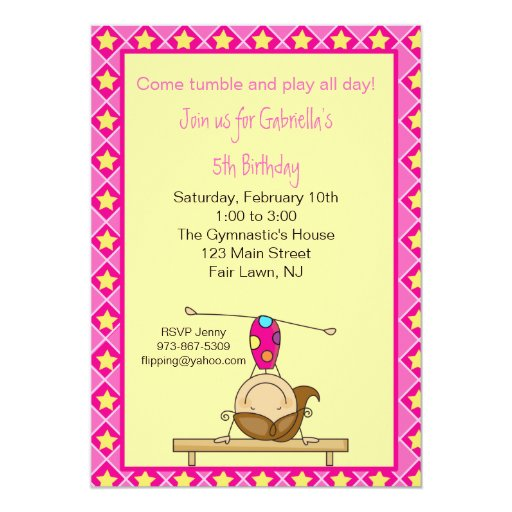 Gymnastics Stick Figure Birthday Invitation