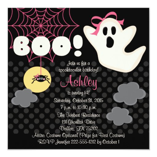 Halloween Birthday Pink Ghost Invitations | Zazzle