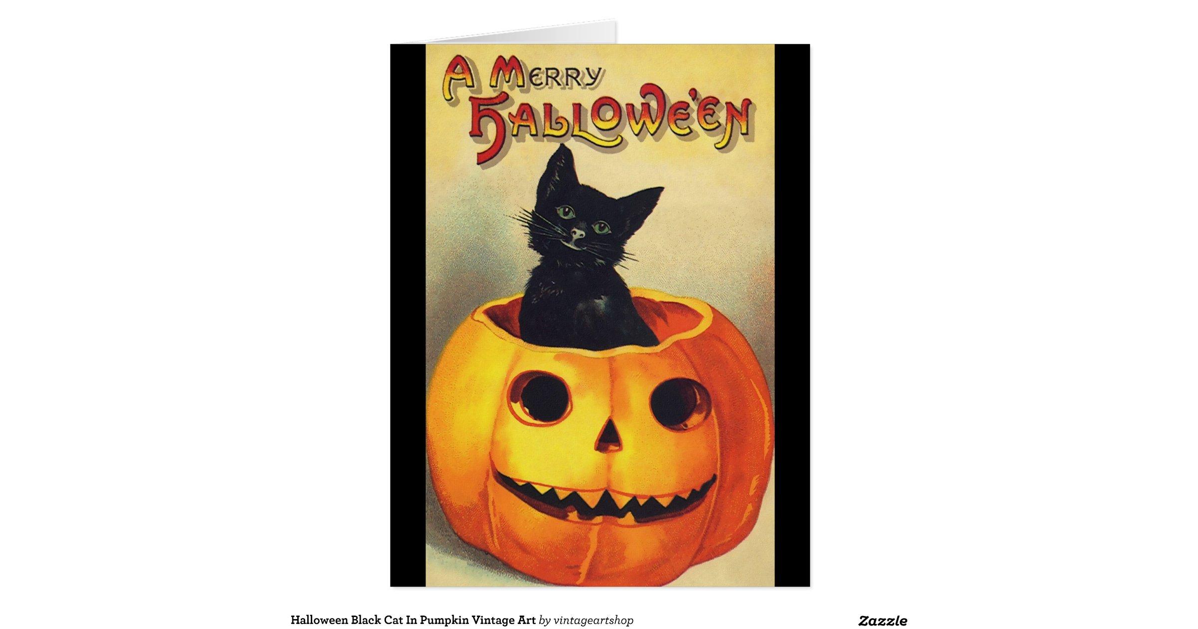 halloween_black_cat_in_pumpkin_vintage_art_card ...