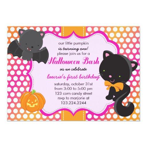 Halloween First Birthday Little Bat, Cat & Pumpkin Card