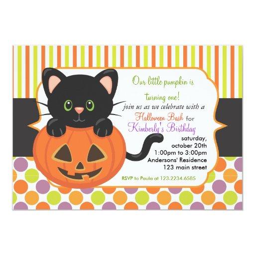 Halloween First Birthday Party Cute Pumpkin Cat Card