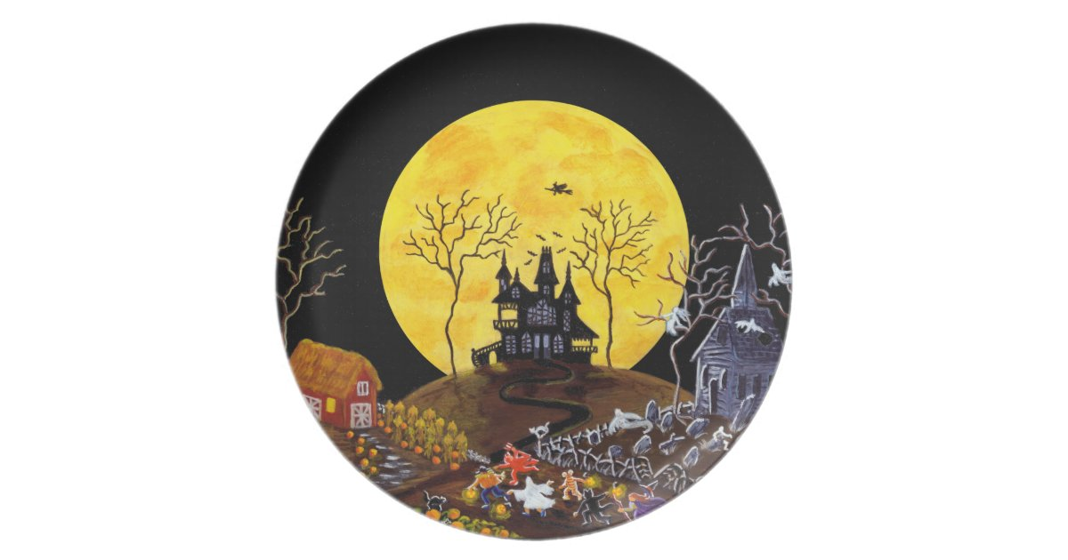 Halloween Plate Ghosts Haunted House Witch Melamine Plate