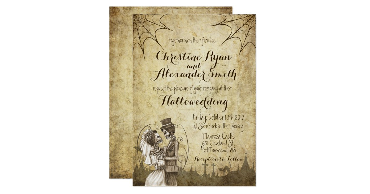 Halloween Wedding Invitation: Halloween Wedding Invitation With Skeleton Couple