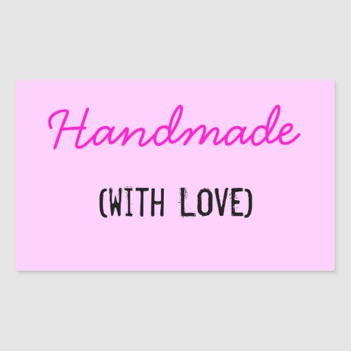 Handmade With Love Rectangle Stickers | Zazzle