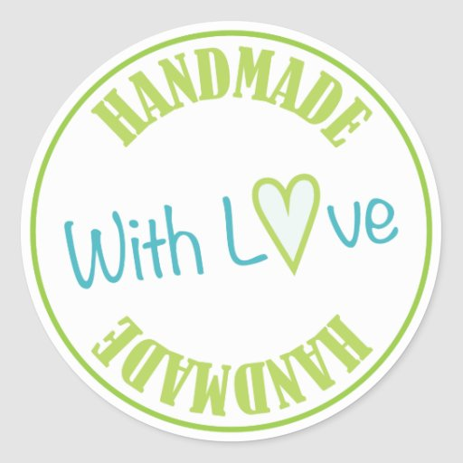 Handmade With Love Classic Round Sticker | Zazzle