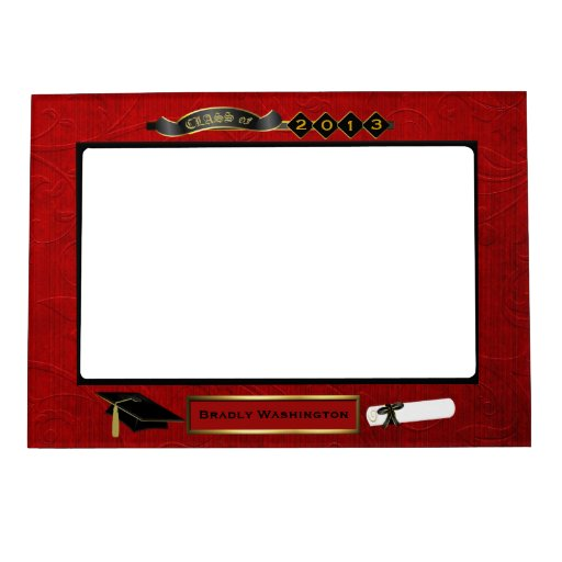 Handsome Red, Black, & Gold Tone Graduation Photo Magnetic ...Red Graduation Borders