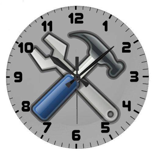 Handyman Tools Hammer And Wrench Wall Clock Zazzle