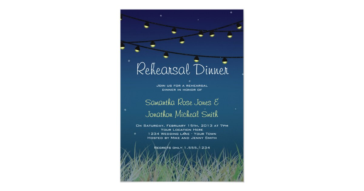 Hanging Lights Rehearsal Dinner Under The Stars Card Zazzle