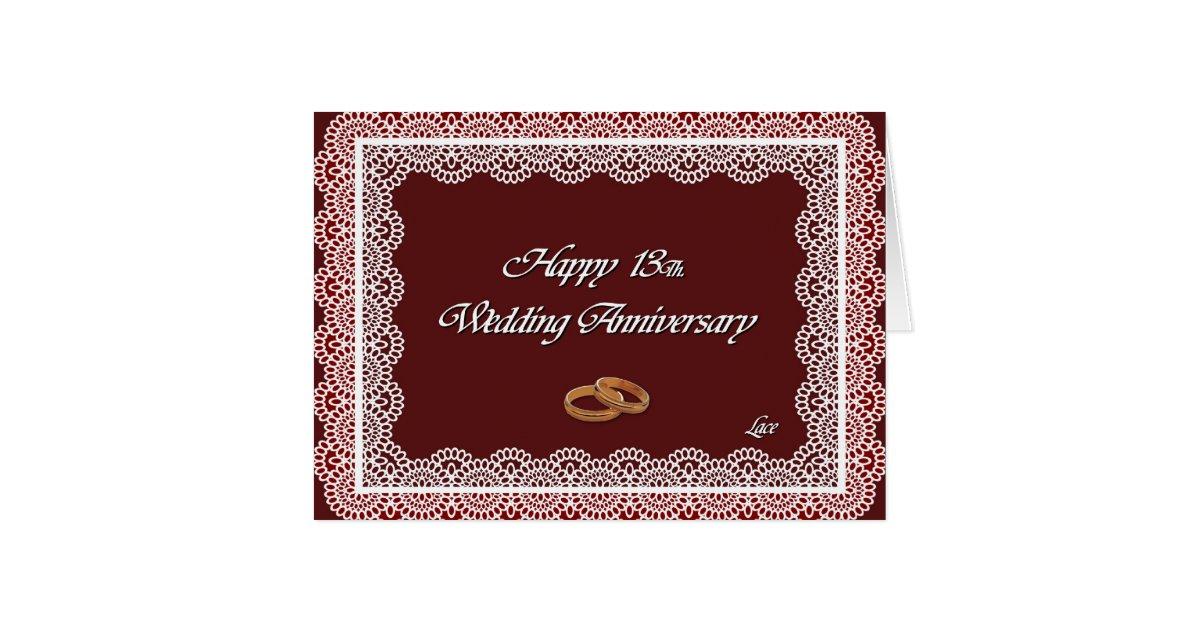 13th Year Wedding Anniversary Gift: Happy 13Th. Wedding Anniversary Lace Card