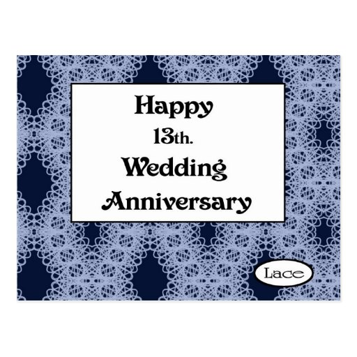 13 Wedding Anniversary Gift Ideas: Happy 13th. Wedding Anniversary Lace Postcard