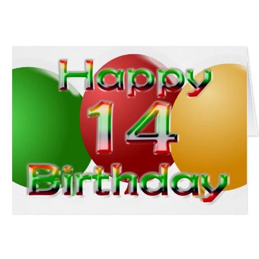 Happy 14th Birthday Balloon Card
