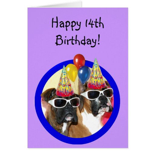Happy 14th Birthday Boxers Greeting Card