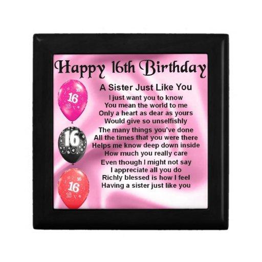 Happy 16th Birthday - Sister Poem Jewelry Box