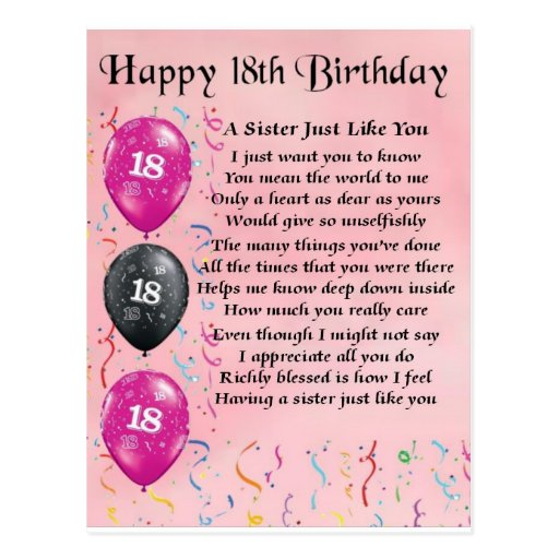 Happy 18th Birthday - Sister Poem Postcard