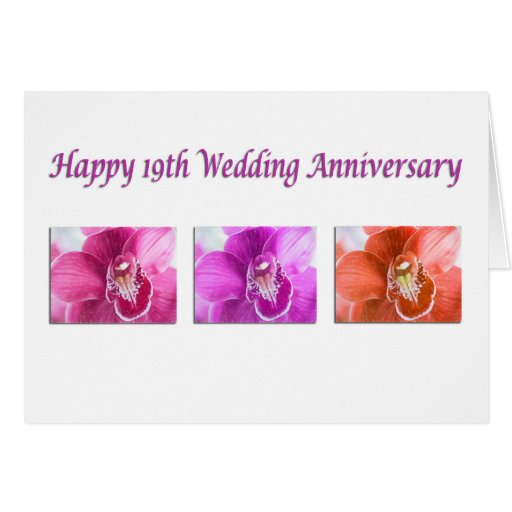 Gifts For 19th Wedding Anniversary: Happy 19th Wedding Anniversary Orchids Card