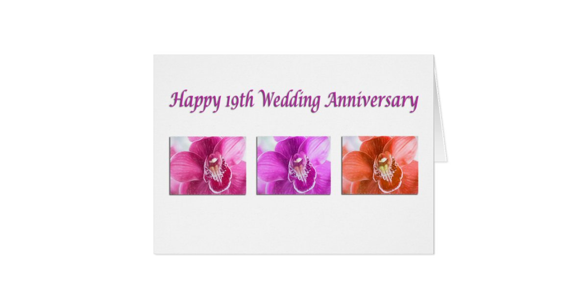 Gift For 19th Wedding Anniversary: Happy 19th Wedding Anniversary Orchids Card